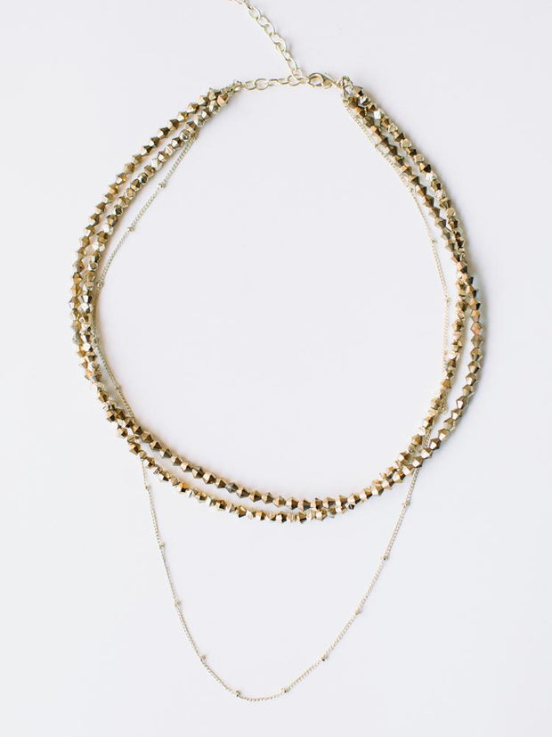 Beaded Choker Necklace Gold