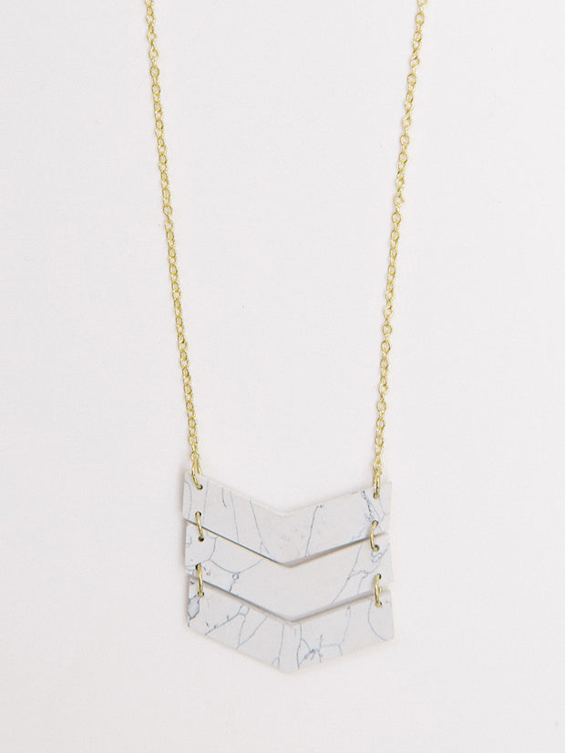 Chevron Necklace White