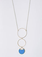 Circle Drop Necklace Blue