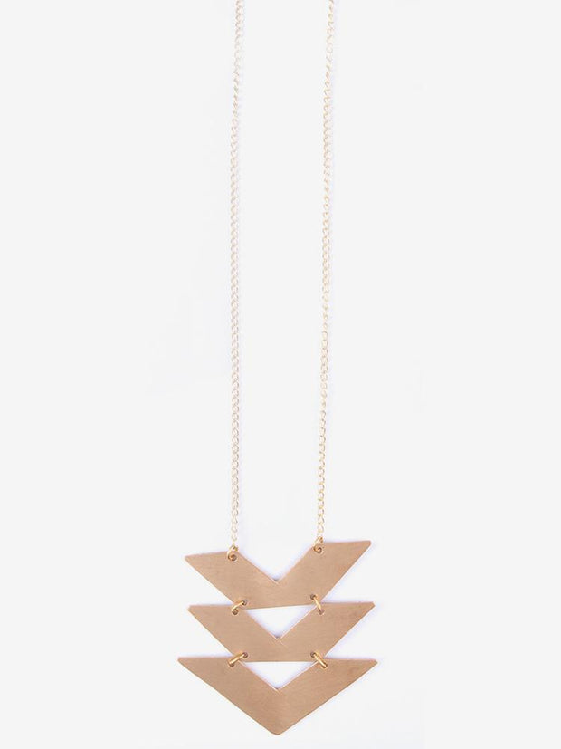 Cropped Chevrons Necklace Gold