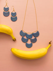 Etched Crescent Necklace Blue