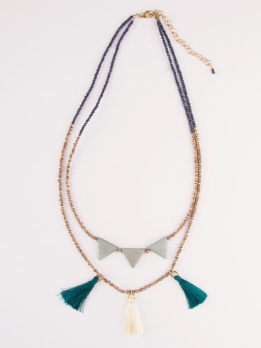 Jubilee Tassel Necklace Teal