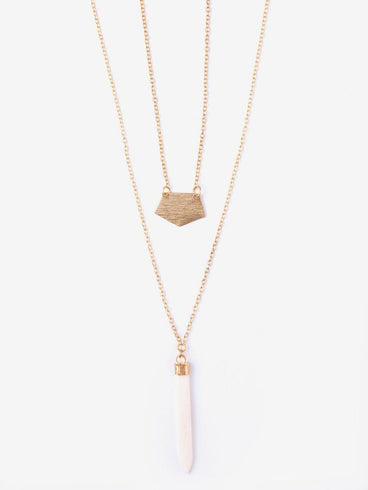 Layered Spike Necklace Cream