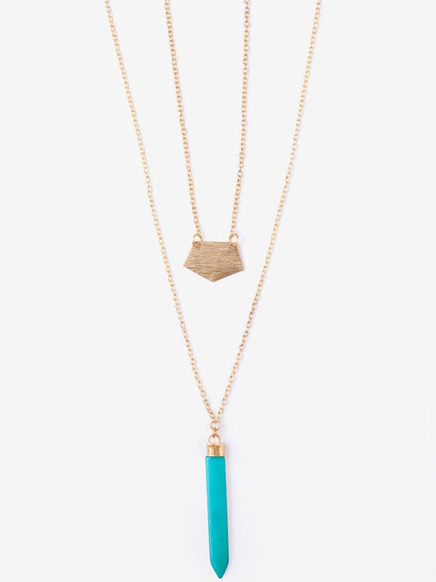 Layered Spike Necklace Turquoise