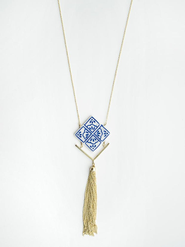 Mallorca Tile Necklace Navy
