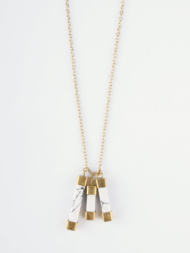 Marbled Charm Necklace White