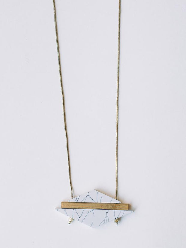 Modern Marble Necklace White