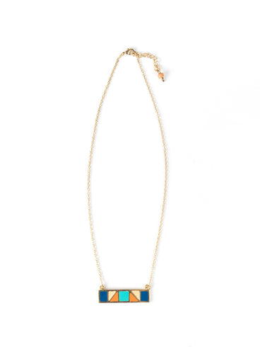 Mondrian Bar Necklace Multi Blue