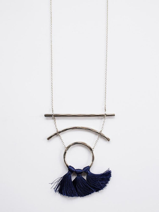 Moonbeam Tassel Necklace Navy