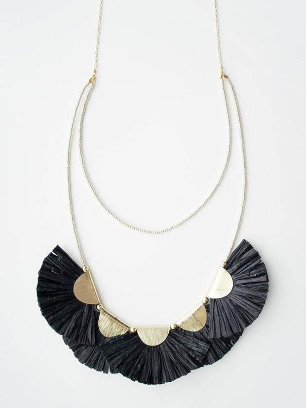 Raffia Fan Necklace Black