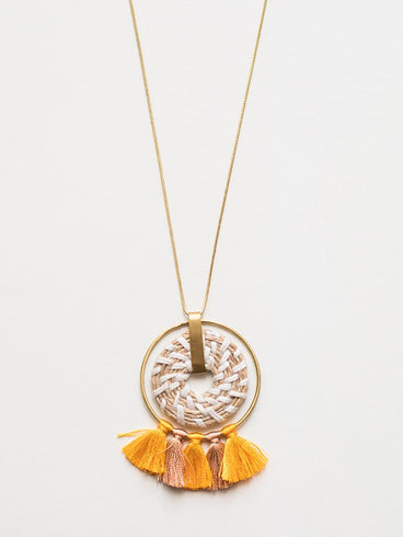 Raffia Pendant Necklace Yellow