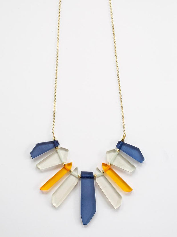 Stained Glass Necklace Blue