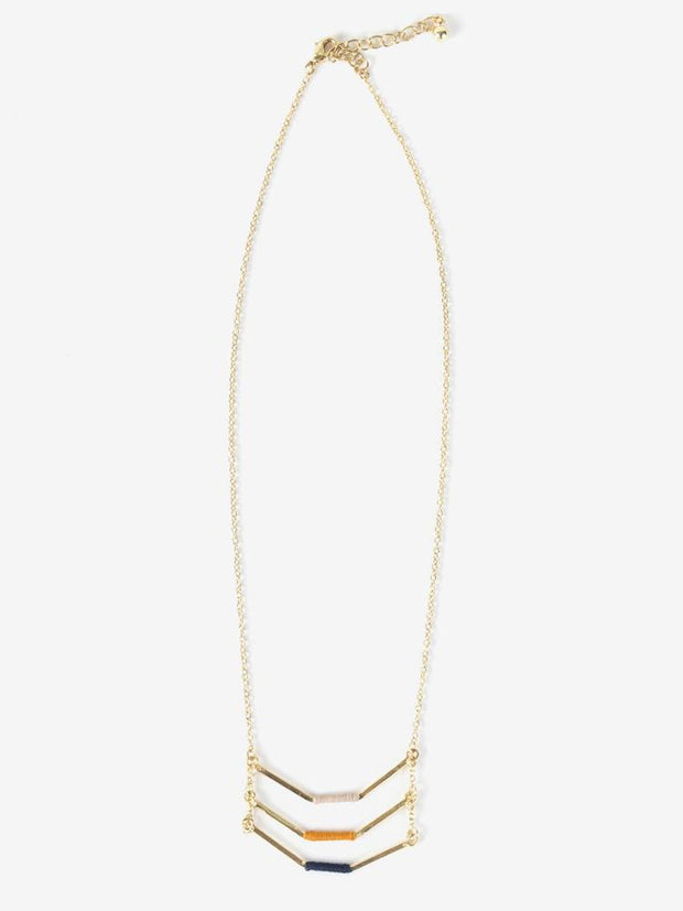 Threaded Chevron Necklace Gold
