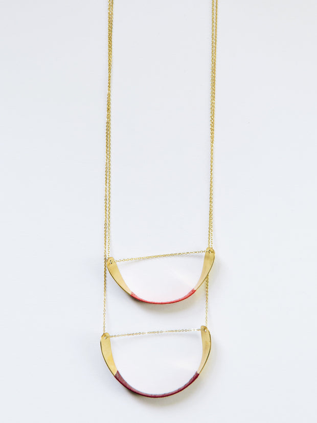 Threaded Helix Necklace Red