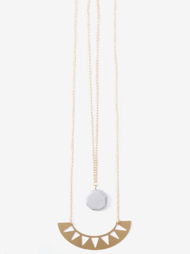 Tide And Moon Necklace Pink