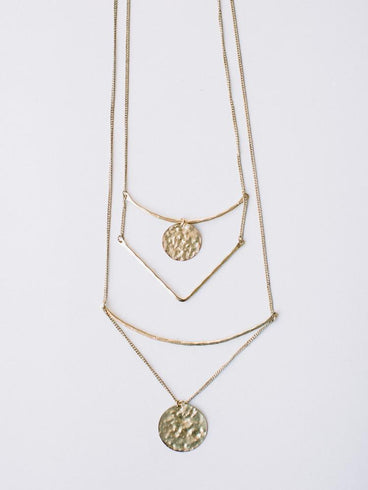 Tiered Sun Drop Necklace Gold