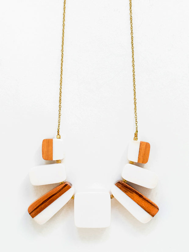 Two Tone Block Necklace White