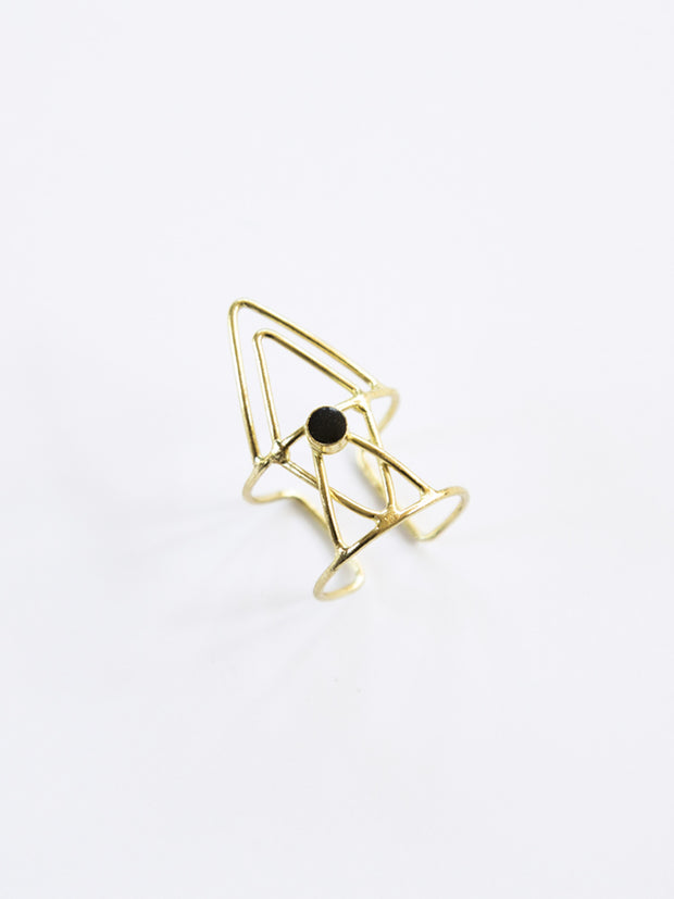 Hex Triangle Ring Black