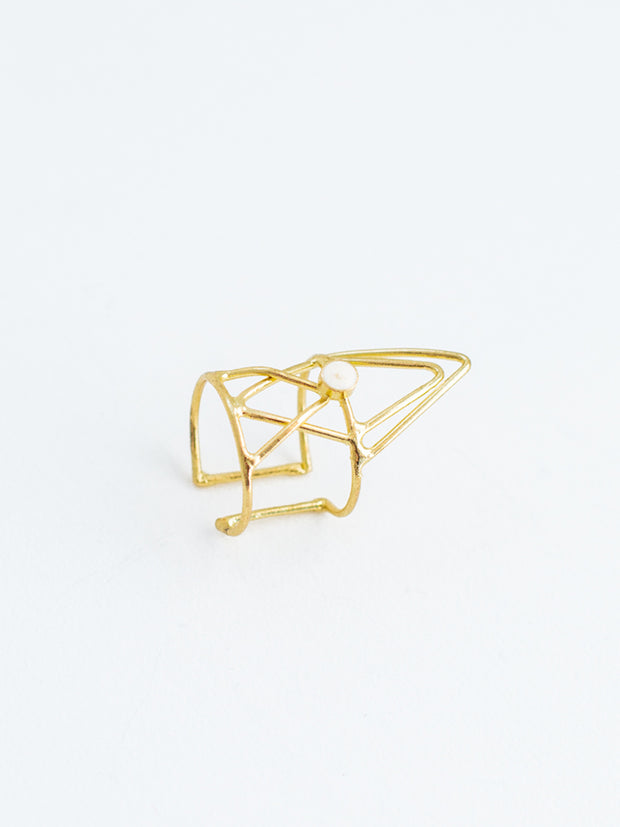 Hex Triangle Ring White