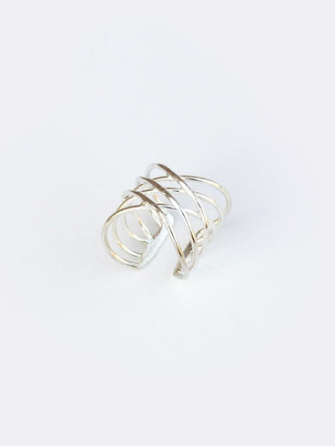 Layered Oval Ring Silver