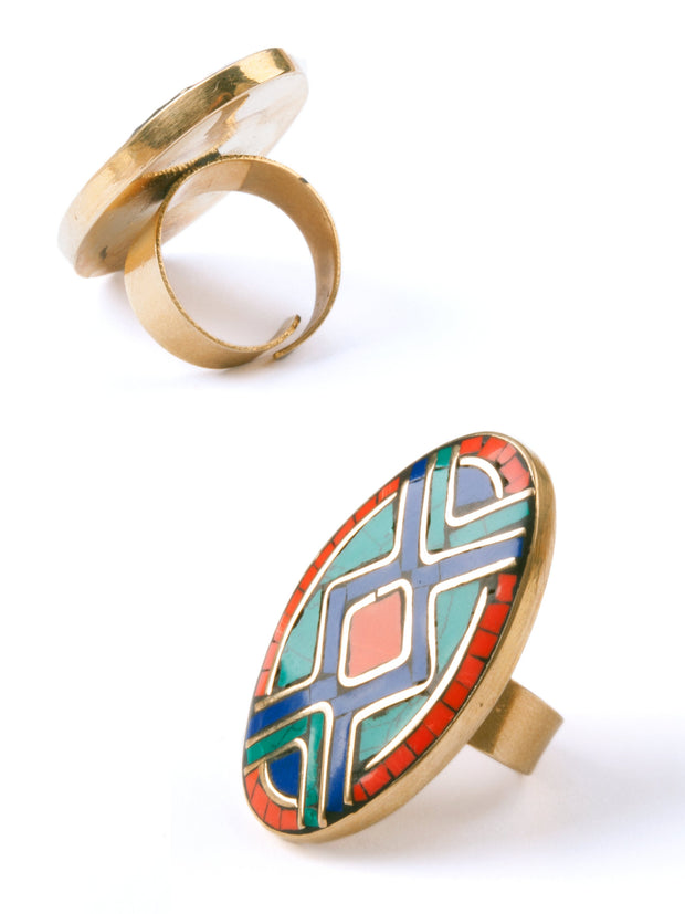Mosaic Oval Ring