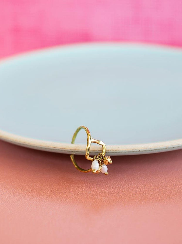 Pearl Cluster Ring Gold
