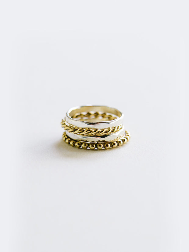Two Tone Stack Ring Mixed