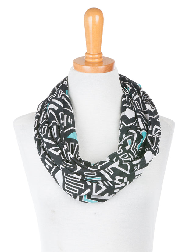Hand Screened Infinity Scarf Black