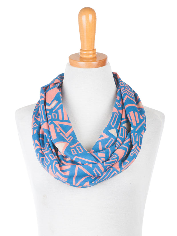 Hand Screened Infinity Scarf Blue