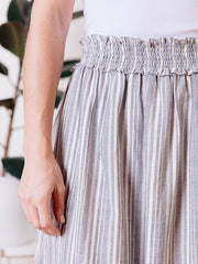 Shimla Smocked Skirt Grey Stripe