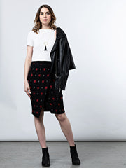 Aberdeen Skirt Black/Red Ikat