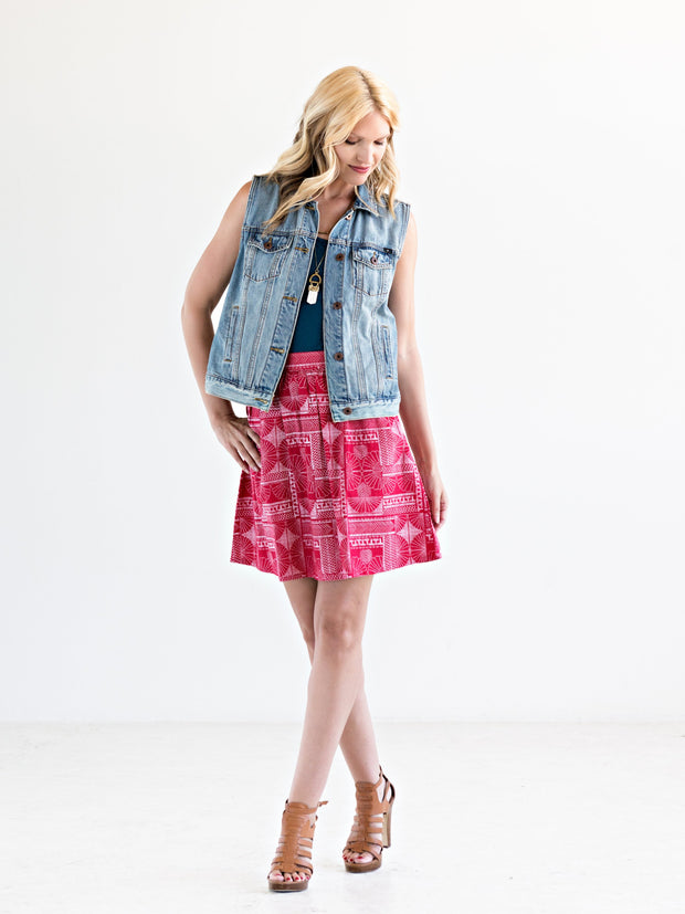 Bailee Button Skirt Red
