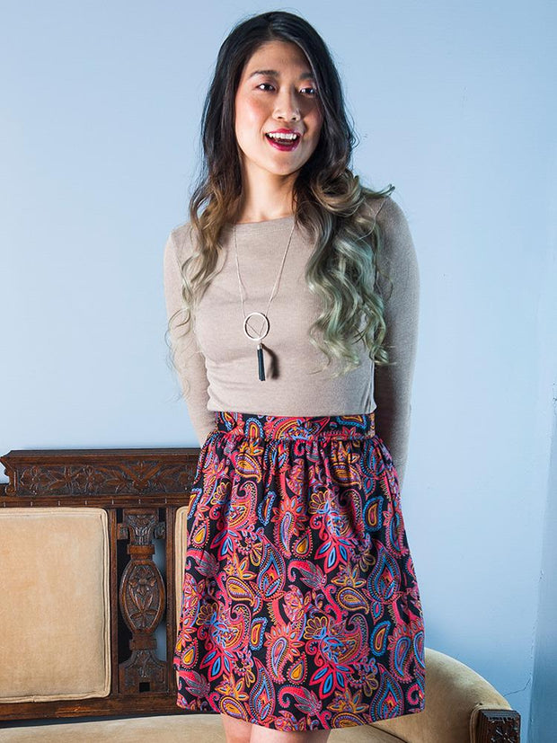 Bailee Button Skirt Paisley