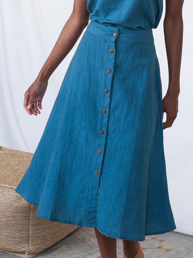 Brighton Skirt Blue Linen