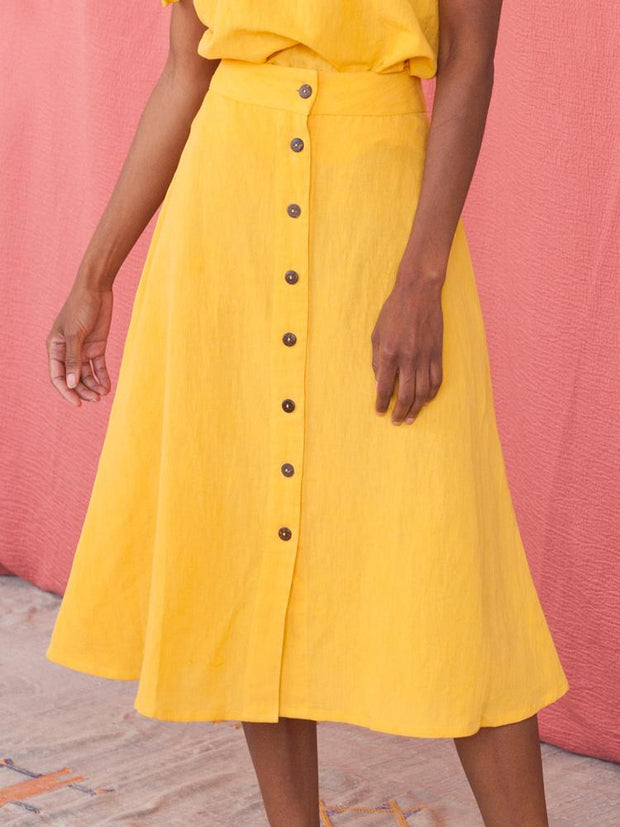 Brighton Skirt Yellow Linen