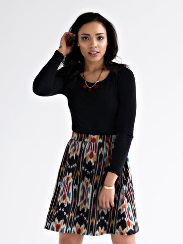 Gathered Ikat Skirt Multi