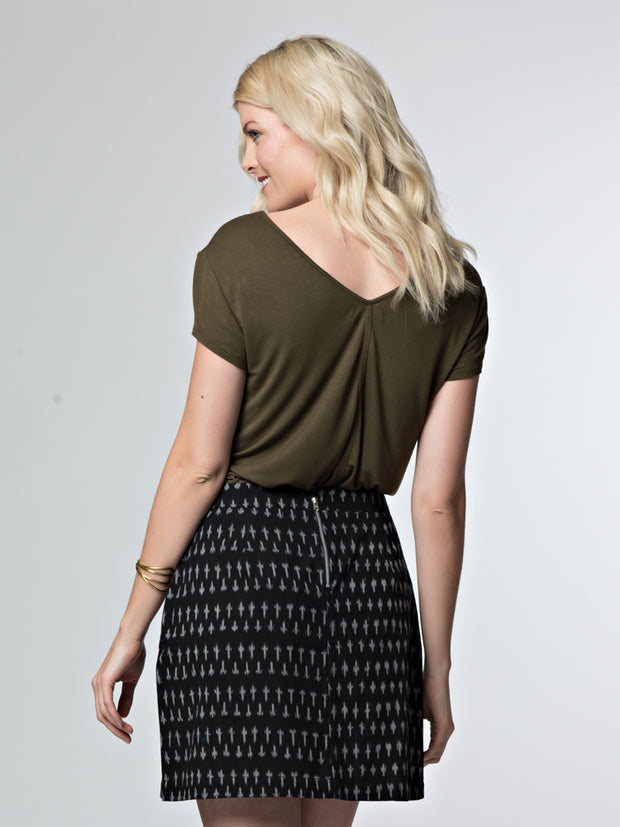 Harper Skirt Black Ikat