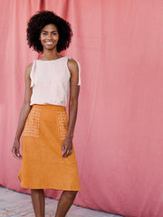 Laser Cut Skirt Ochre