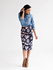 Midi Pencil Skirt Watercolor