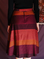 Mysuru Midi Skirt Plum Stripe