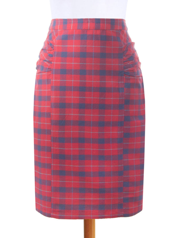 Panelled Pencil Skirt Red
