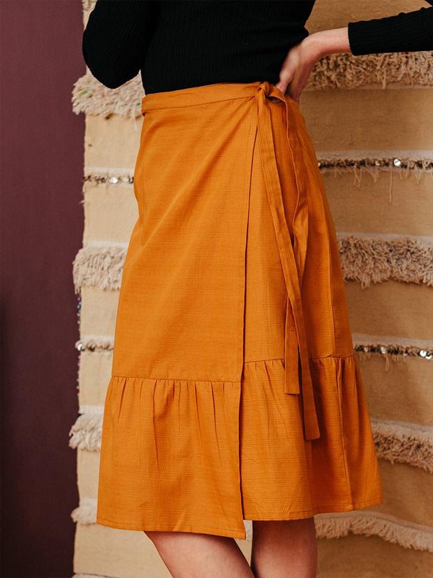Ruffled Wrap Skirt Sienna Slub
