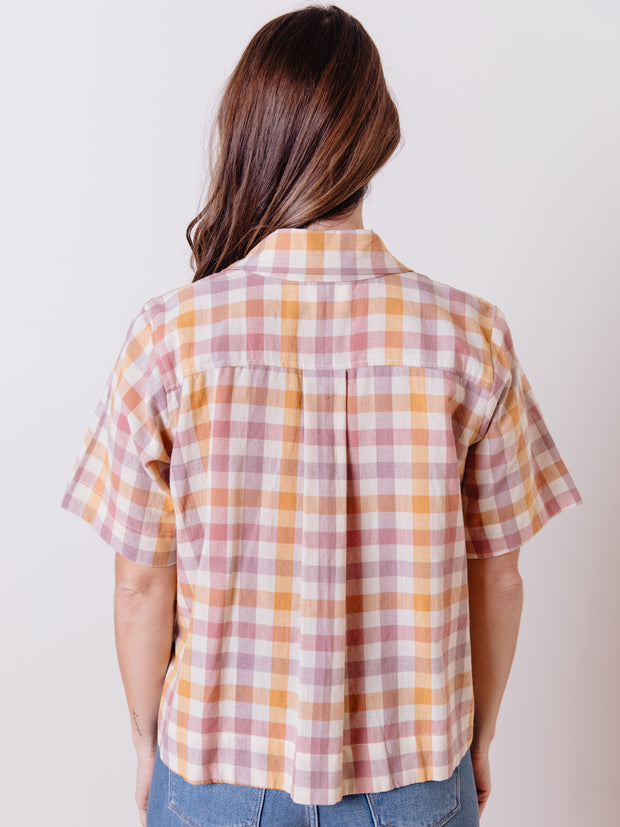 Dina Top Blush Plaid