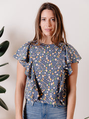 Flora Flutter Sleeve Top Blue Spots