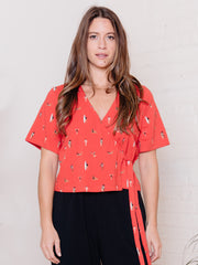 Marley Boxy Wrap Top Red Swimmers