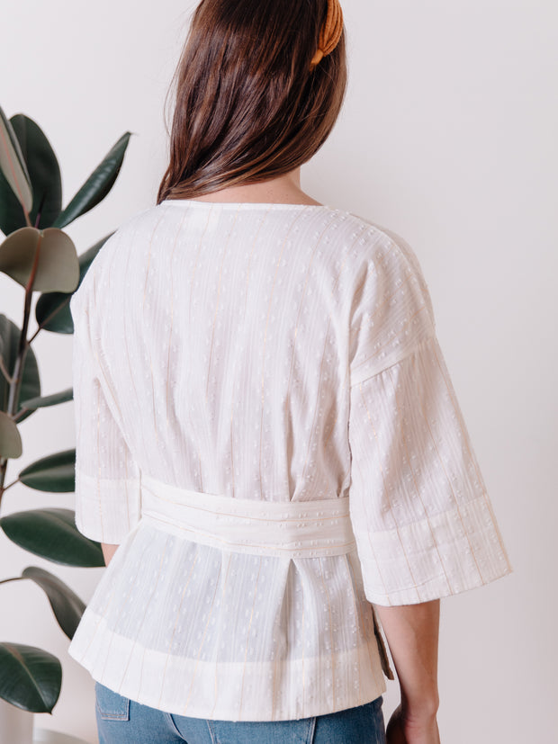 Ruth Top White Lurex Stripe