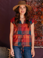 Anita Top Persimmon Plaid