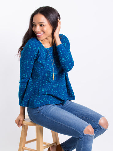 Cozy Day Top Sapphire
