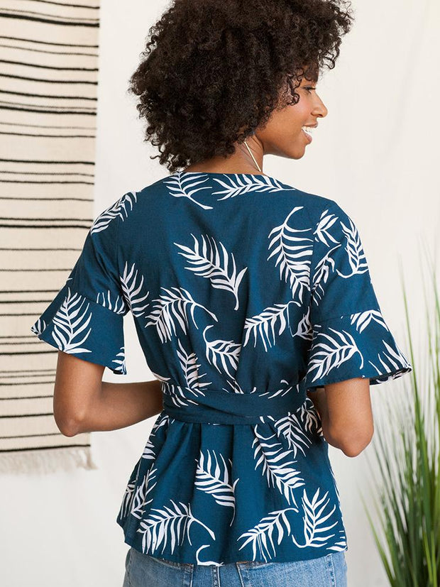 Flutter Top Navy Palms