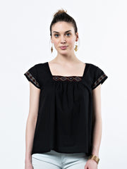 Kira Square Neck Top Black